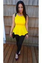 yellow peplum top Bisou Bisou top - black Forever 21 leggings