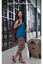 brown Zara jacket - brown Zara leggings - light brown Zara heels