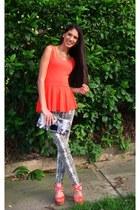 orange Zara blouse - Exotik purse - gold Forever 21 necklace - Guess pants