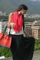 coral melao purse - Korots bag - dark green Zara skirt