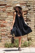 camel asos hat - black H&M dress - black H&M bag - black Marypaz sandals