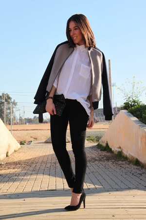 BLANCO jacket - Stradivarius shirt - Stradivarius bag - Mango heels