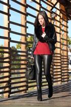 Stradivarius pants - H&M boots - pull&bear jacket - H&M scarf - Mango bag