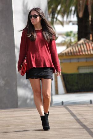 H&M sweater - H&M boots - su shi bag - DIY skirt