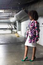 violet Tara for target coat - white Charlie Jade dress - teal JustFab pumps