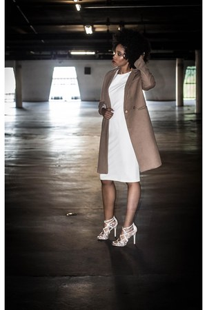 white Charlie Jade dress - tan H&M coat - beige sam edelman sandals