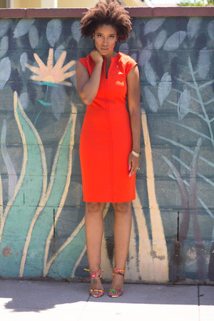 carrot orange Zara dress - carrot orange Shoedazzle heels