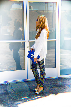 blue Urban Expressions purse - blue Zara pants - ivory Target sandals