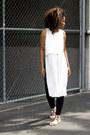 Black-zara-leggings-ivory-forever-21-shirt-white-zara-sandals