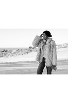 fur vintage jacket - boyfriend vintage pants - open toe kate spade heels