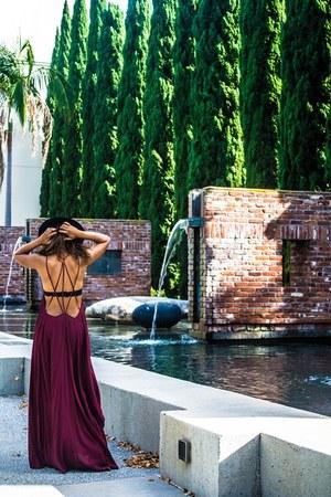 black H&M hat - brick red Urban Outfitters dress - black free people bra
