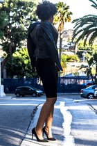 black Zara jacket - neutral Target t-shirt - black Zara skirt