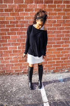 black Cole Haan boots - white Charlie Jade dress - black brandy melville sweater