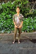 dark green Topshop jeans - black Birkenstock shoes