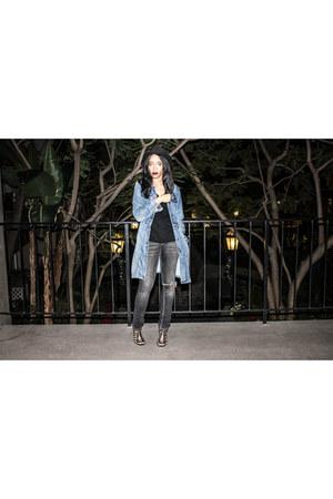 black Missoni jeans - black H&M hat - blue vintage jacket