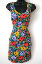 Vintage Floral Sleeveless Bandage Mini Dress, MEDIUM