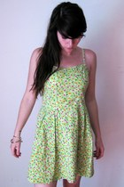 Vintage Lime Green Hawaiian Flower Print Mini Sundress, SMALL