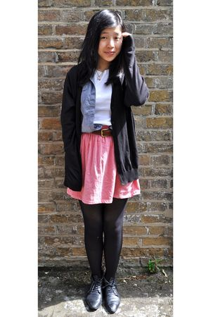 black Uni Qlo cardigan - pink Zara skirt - brown Sisters haha belt - black Camde