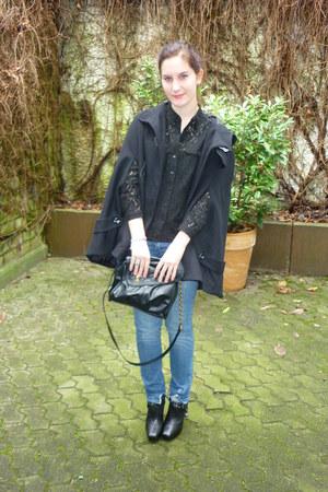 black H&M purse - sky blue H&M jeans - black zoe sam edelman wedges