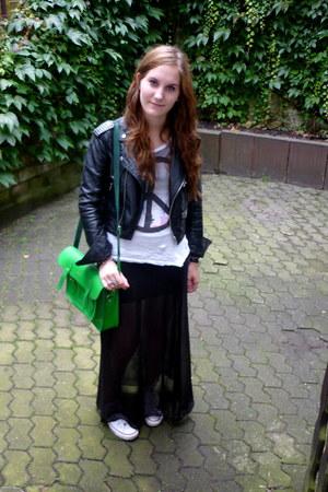 black sheer Cheap Monday skirt - black mini H&M skirt - black New Yorker jacket