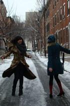 teal decree coat - plaid LAMB coat - studded Vince Camuto boots