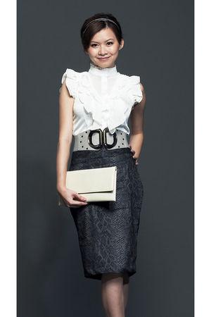 white Mylo  Athena blouse - gray Mylo  Athena skirt - silver Mylo  Athena belt -