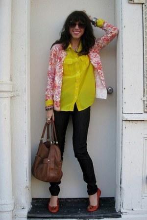 JCrew shirt - AG jeans - Target sweater - JCrew bag - tory burch flats