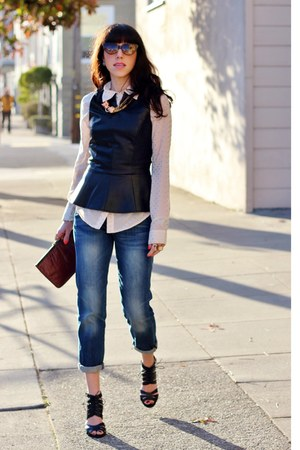 peplum piperlime top - Gap jeans - Tres Noir sunglasses - JCrew necklace