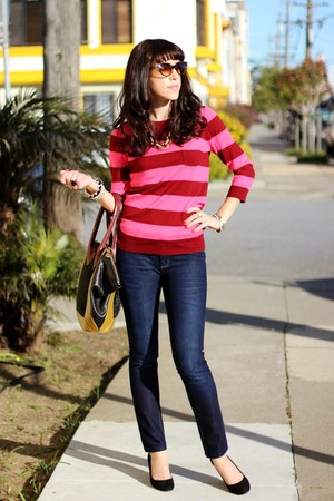 maroon JCrew sweater - navy dl1961 jeans - Pour La Victoire bag