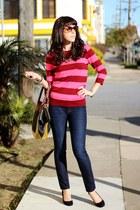 maroon JCrew sweater - navy dl1961 jeans - Pour La Victoire bag