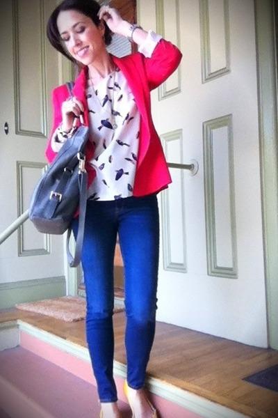 hot pink Zara blazer - Zara jeans