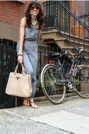 gray jumpsuit American Apparel jumper - nude Reiss bag