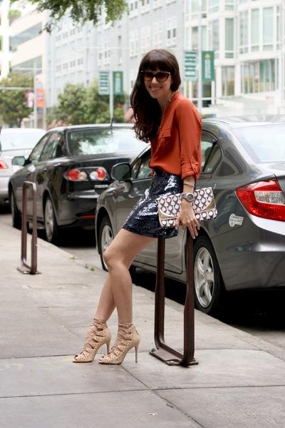 nude Schutz heels - periwinkle H&M bag - brown Tres Noir sunglasses