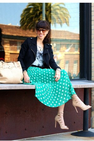 green Forever 21 skirt - black Forever 21 jacket - nude Reiss bag