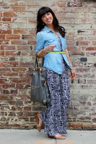 black Forever 21 dress - sky blue JCrew shirt - heather gray Erica Anenberg bag