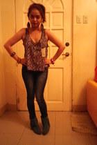 bangles bracelet - thrifted boots - denim jeans - floral print blouse