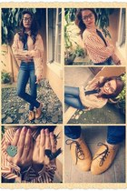 lace tie accessories - oxford shoes - striped blouse - geek glasses glasses