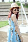 Beige-hat-light-blue-retro-romwe-dress-beige-round-romwe-sunglasses