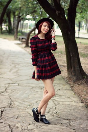 black Ballasox boots - ruby red red plaid TB Dress dress - black romwe hat