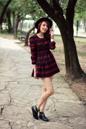 black Ballasox boots - ruby red red plaid TB Dress dress - black romwe hat