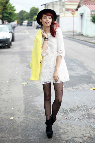 yellow Sheinside coat - black OASAP boots - cream lace Sheinside dress