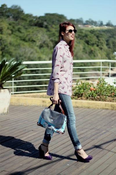 light purple Renner shirt - blue jeans jeans - sky blue O Pato Veste bag