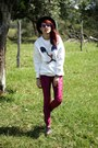 Black-romwe-hat-ruby-red-velvet-romwe-leggings-black-round-zerouv-sunglasses