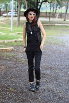 black Bottero boots - black polka dots romwe shirt