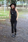 Black-bottero-boots-black-polka-dots-romwe-shirt