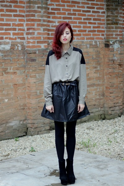 black OASAP boots - black nowIStyle dress - black cross Kafé Acessórios belt