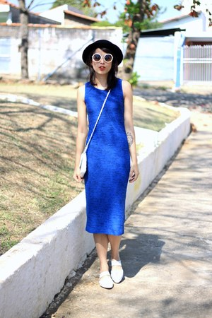 blue Topshop dress - white Melissa sandals
