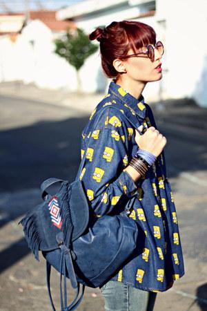 blue bart simpson Sheinside shirt - blue c&a jeans