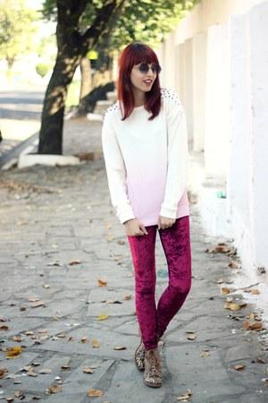 ruby red velvet romwe leggings - bronze leopard Kafé Acessórios boots