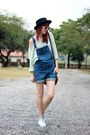 Sky-blue-creepers-petite-jolie-shoes-black-romwe-hat-dark-brown-levis-bag